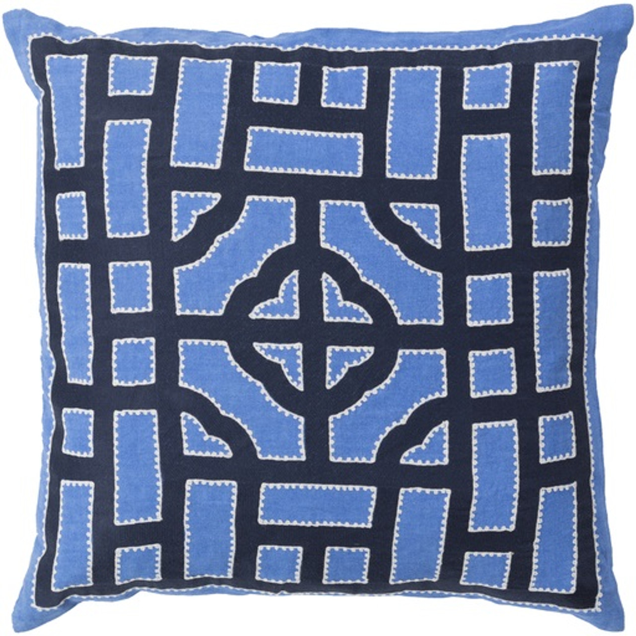 20 White Navy Royal Blue Chinese Gate Decorative Linen Throw Pillow Poly Filled Christmas Central
