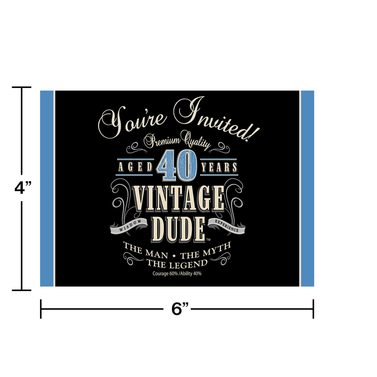 Club Pack Of 48 Vintage Dude 40th Birthday Party Gatefold Paper