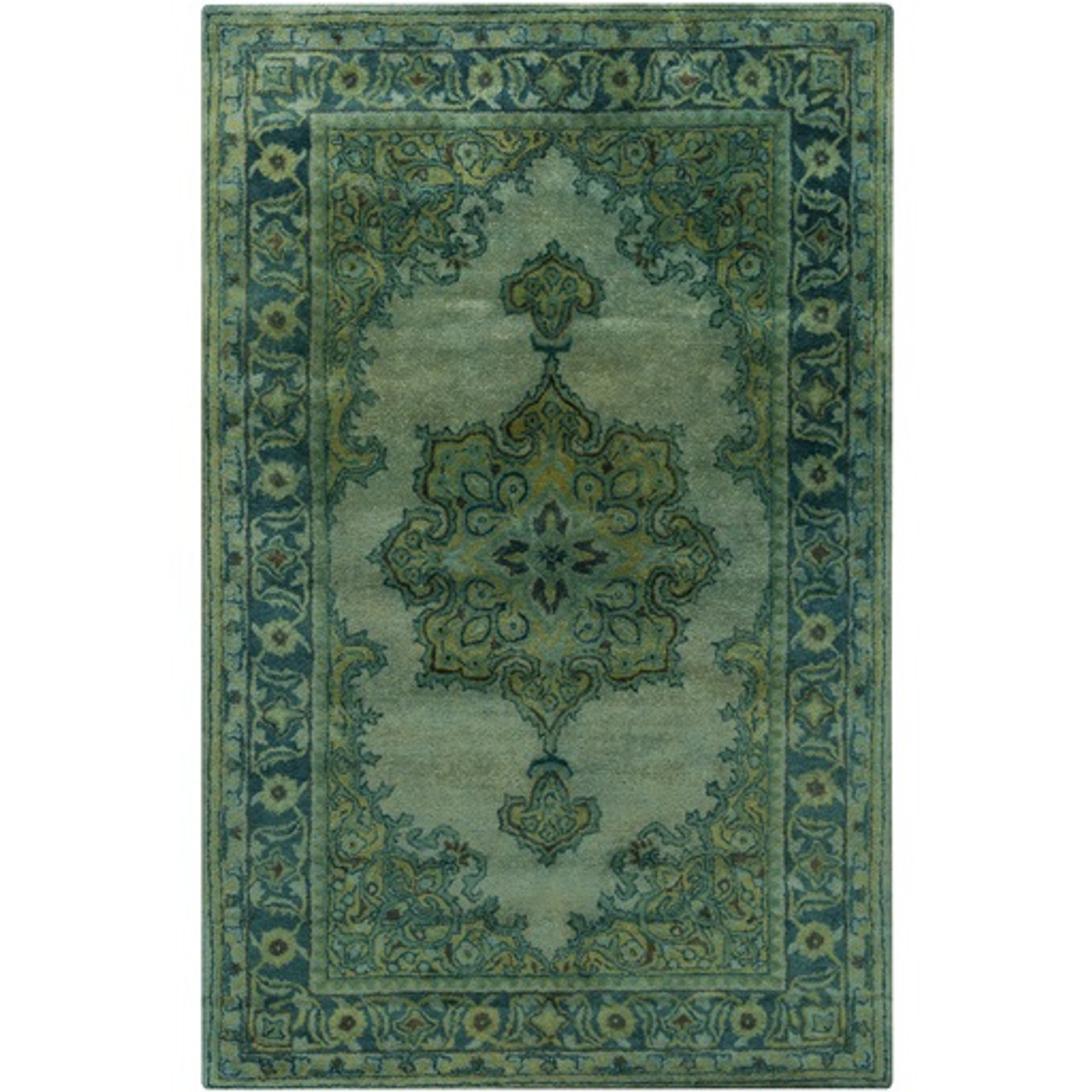 5 X 8 Cycladic Fantasy Emerald And Mint Green Hand Tufted Area Throw Rug 30991891