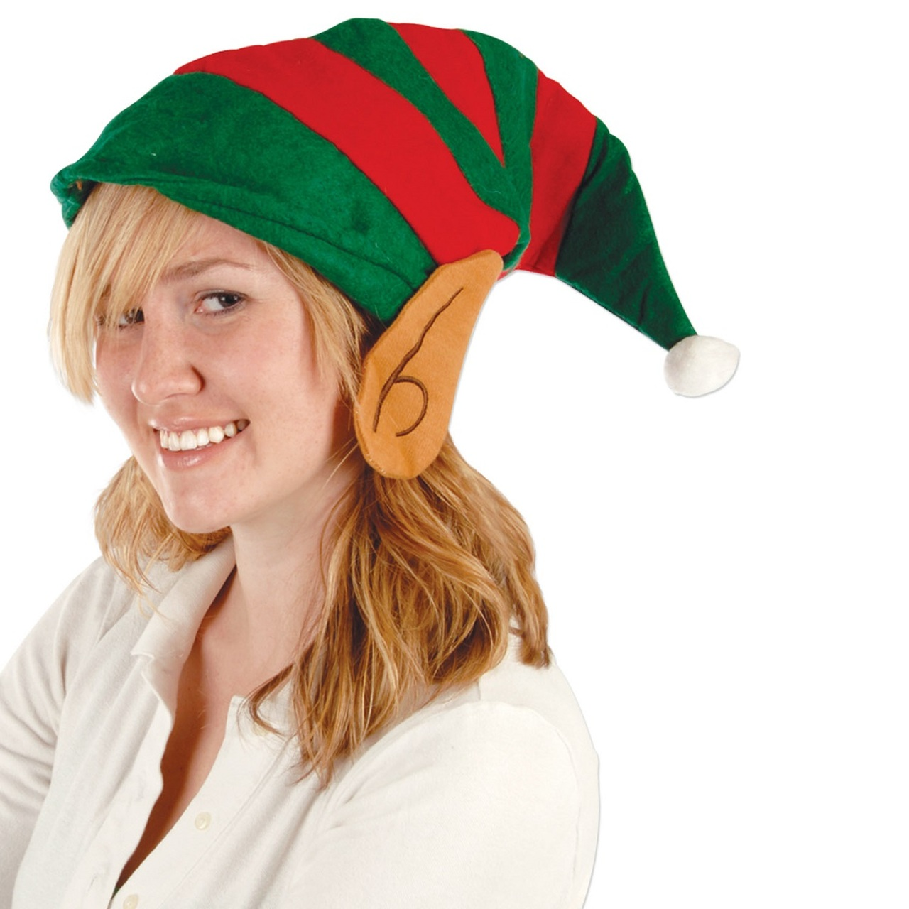 d3c970a446a Club Pack of 12 Red   Green Striped Felt Elf Hat with Ears - Adult ...