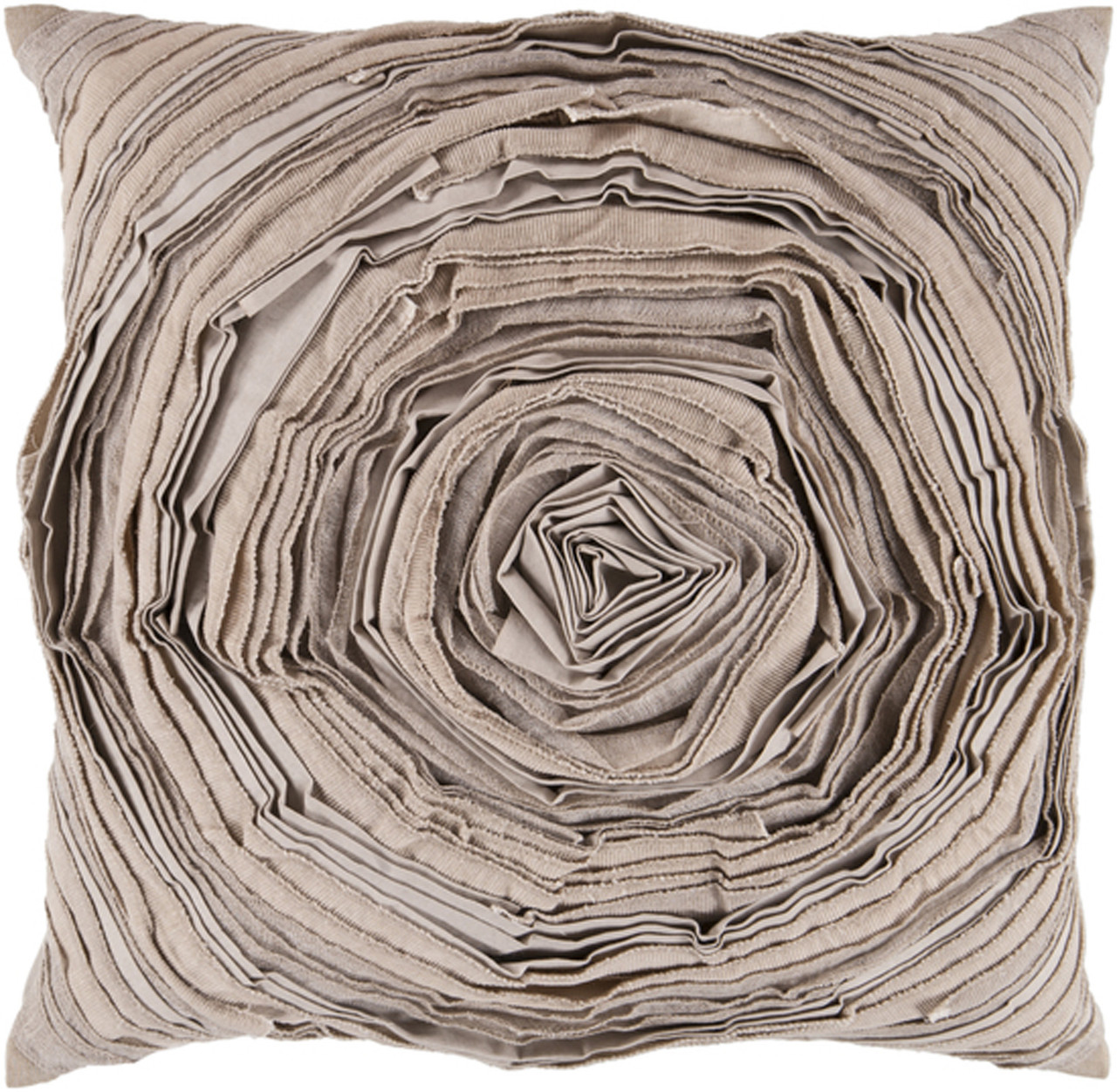 18 Taupe Olive Pleated Rose Petals Decorative Throw Pillow Poly Filled Christmas Central