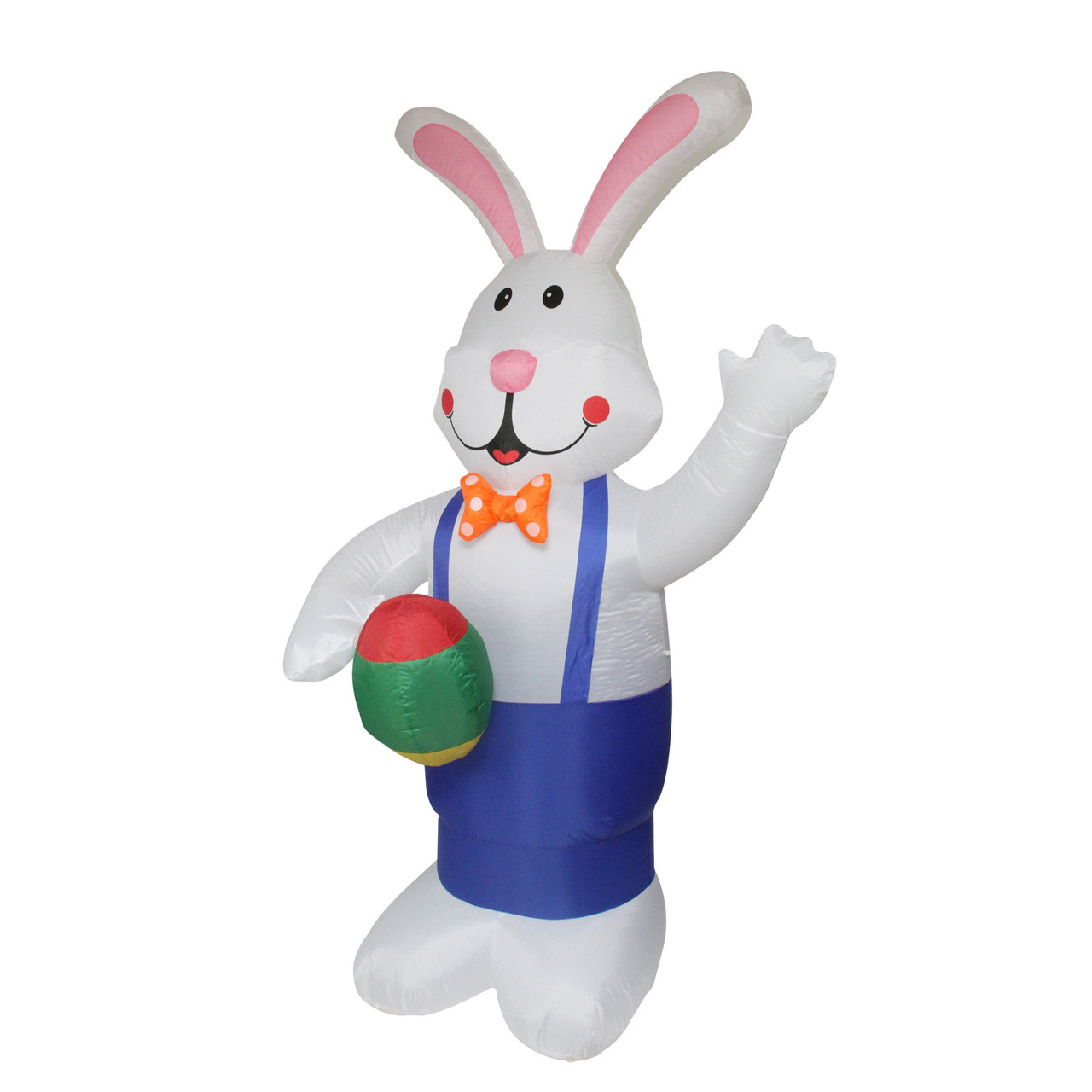 7 Inflatable Lighted Standing Easter Bunny With Eggs Outdoor