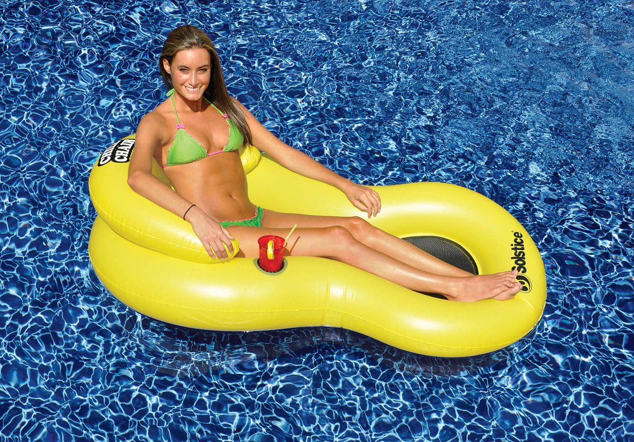 Inflatable Yellow Chill Chair Swimming Pool Floating Lounge Chair ...