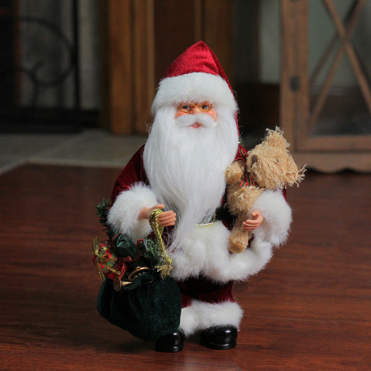 12 Santa Claus Holding A Presents A Green Gift Bag Christmas Figure Christmas Central
