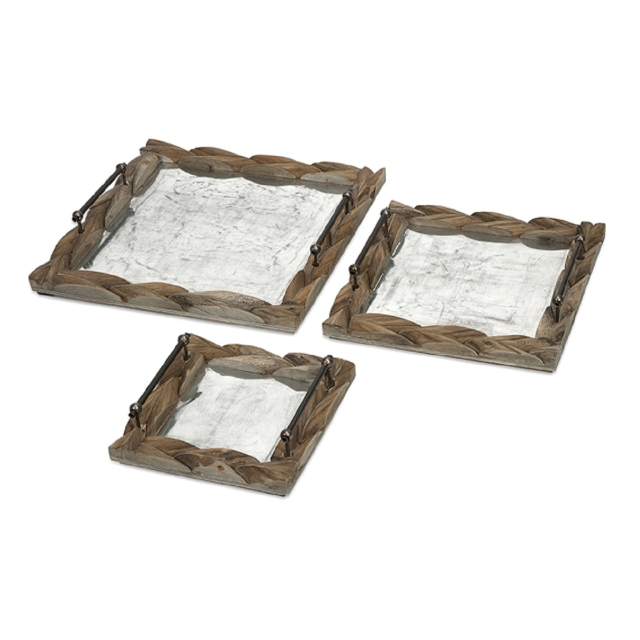 Set Of 3 Vintage Style Wooden Carved Rustic Serving Trays Christmas Central