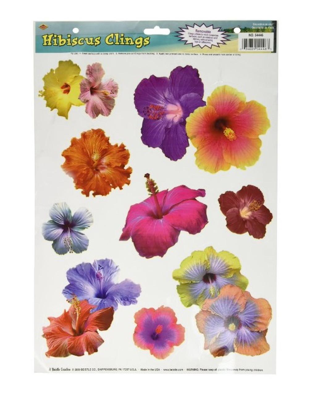 Club Pack Of 108 Multi Color Hibiscus Flower Luau Peel N Place