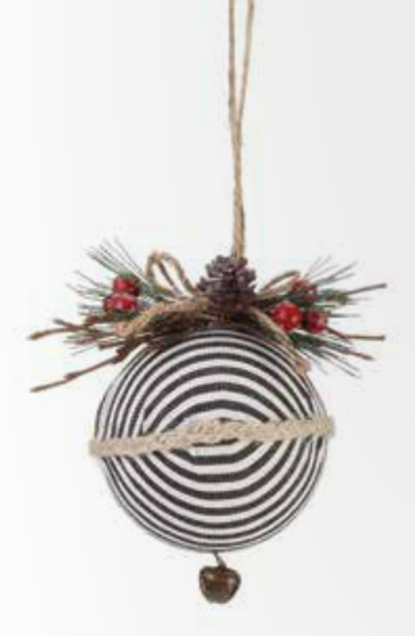 4 75 Country Rustic Black White Striped Ball Christmas Tree Ornament With Pine Berry Accent Christmas Central