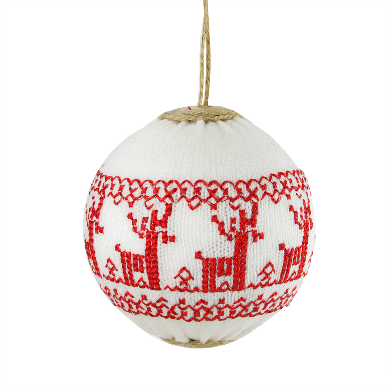 White Red Deer Nordic Christmas Ball Ornament 4 100mm Christmas Central