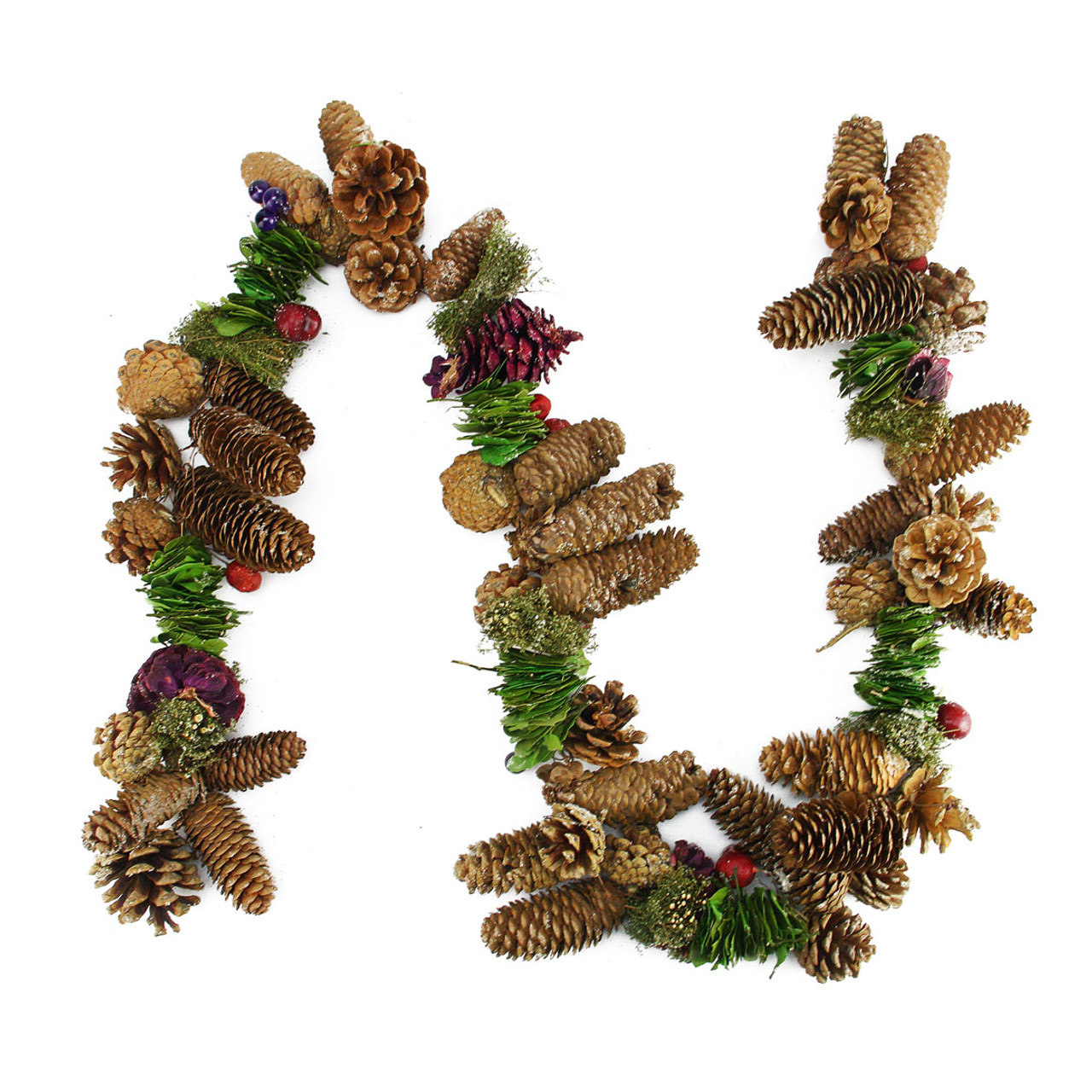 5 Brown Purple Pine Cone Twig Berry Artificial Christmas