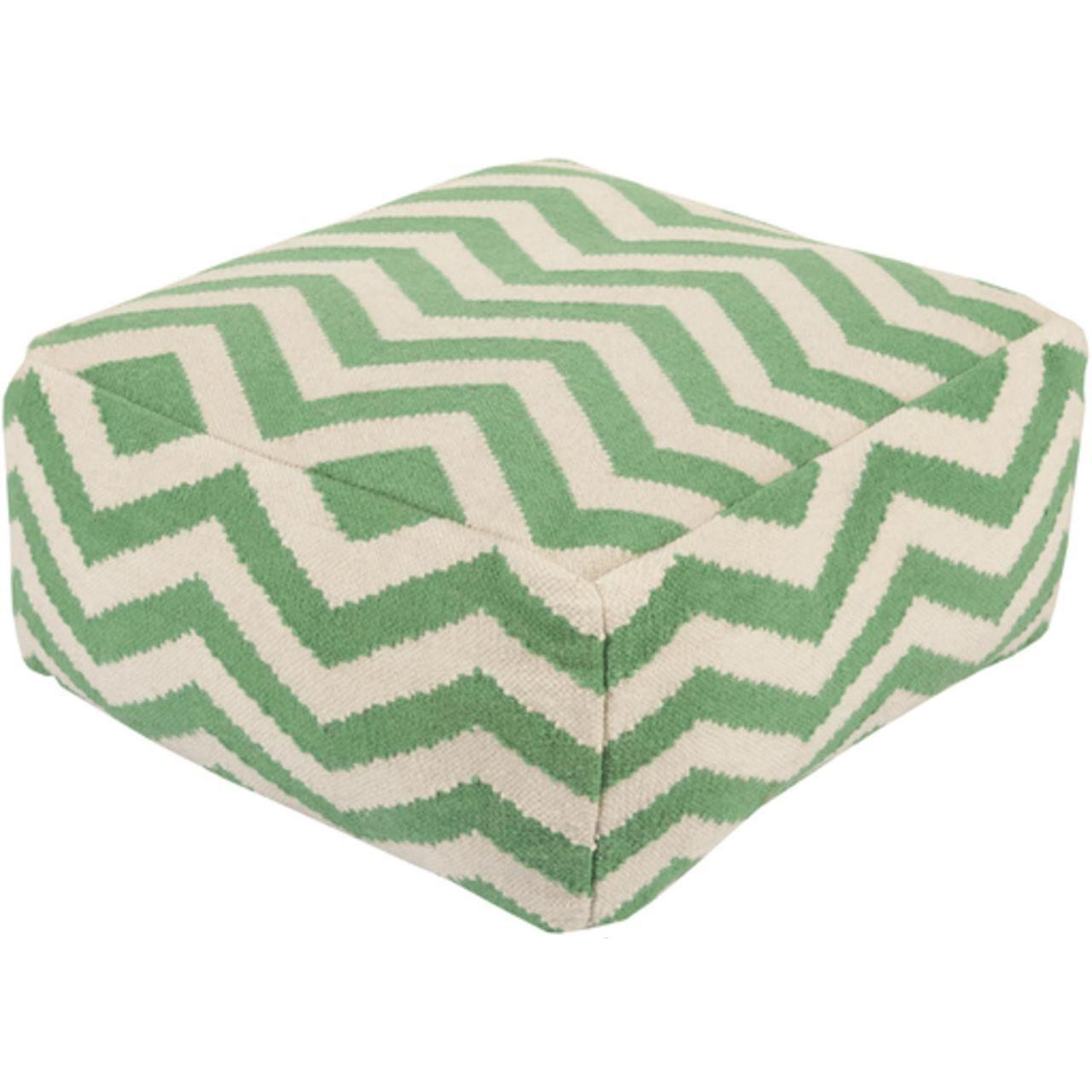 Fantastic 24 Emerald Green And Ivory Chevron Wool Rectangular Pouf Ottoman 30894610 Cjindustries Chair Design For Home Cjindustriesco