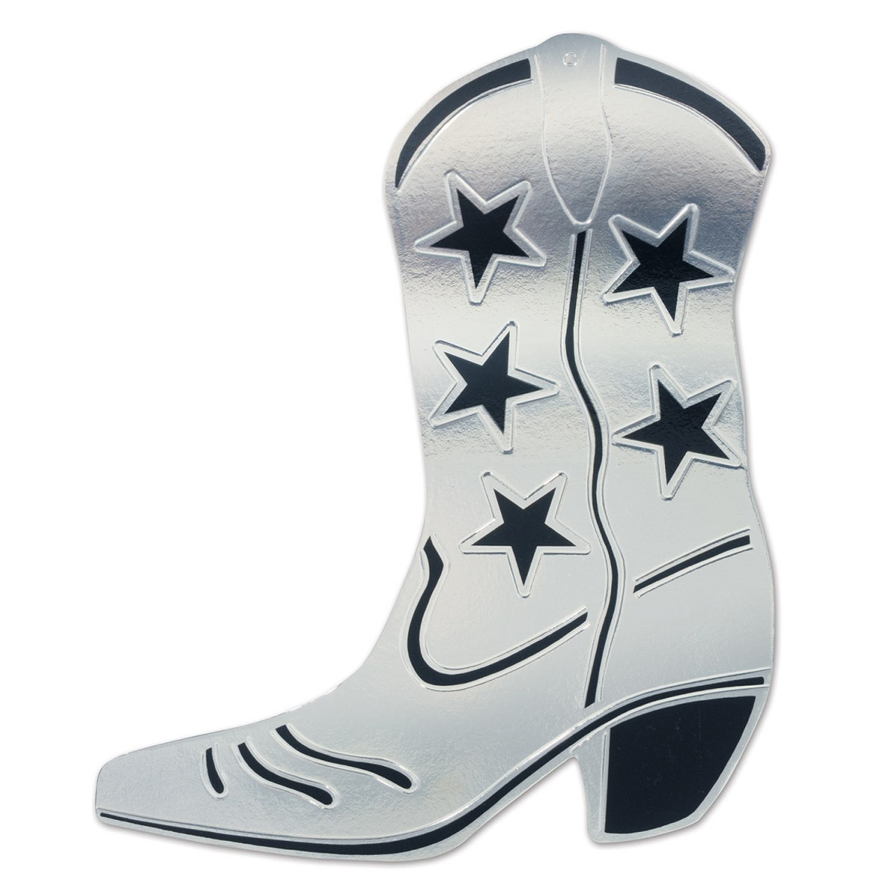38dd3fbb8a8 Club Pack of 24 Silver and Black Foil Country Western Cowboy Boot  Silhouette Party Decorations 16