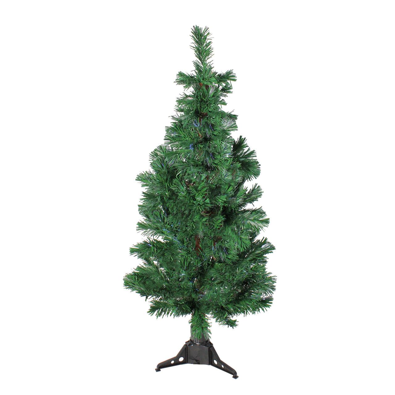 Christmas Tree Fiber Optic Lights: 4' Pre-Lit Fiber Optic Artificial Spiral Pine Christmas