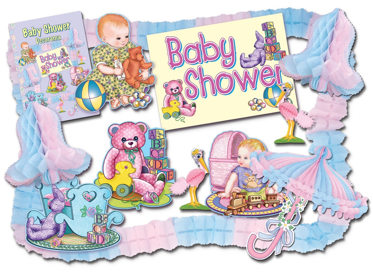 66 Piece Pink Blue Gender Neutral Baby Shower Party Decorating