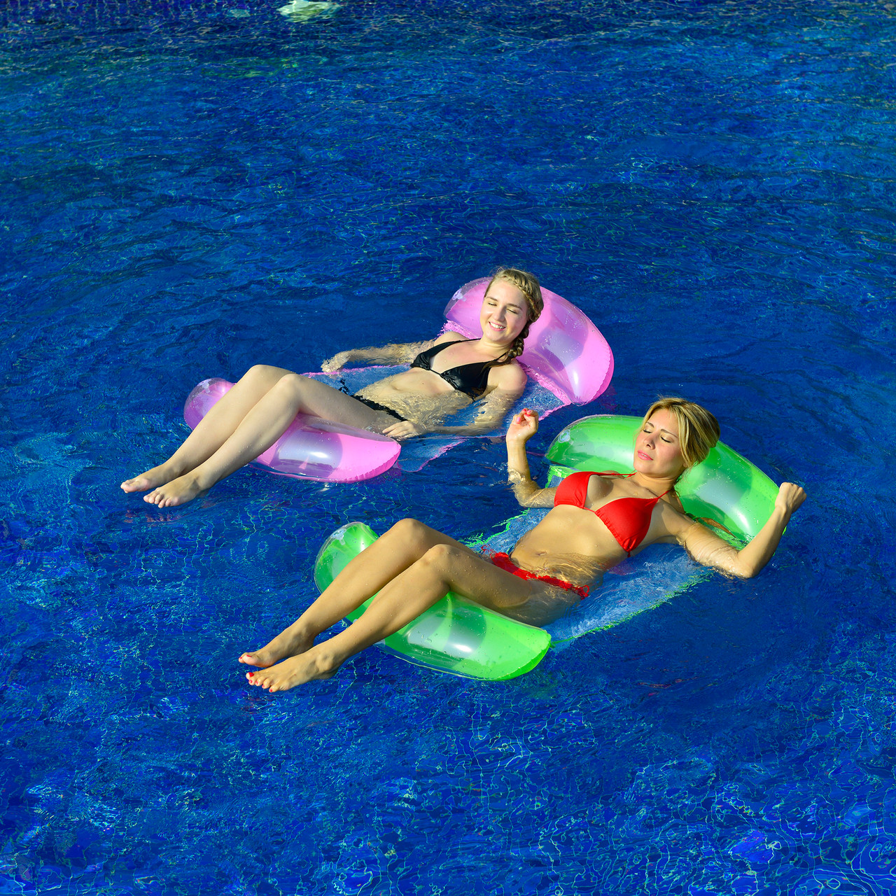 Inflatable Green and White Swimming Pool Lounger Float, 61-Inch - 32148191