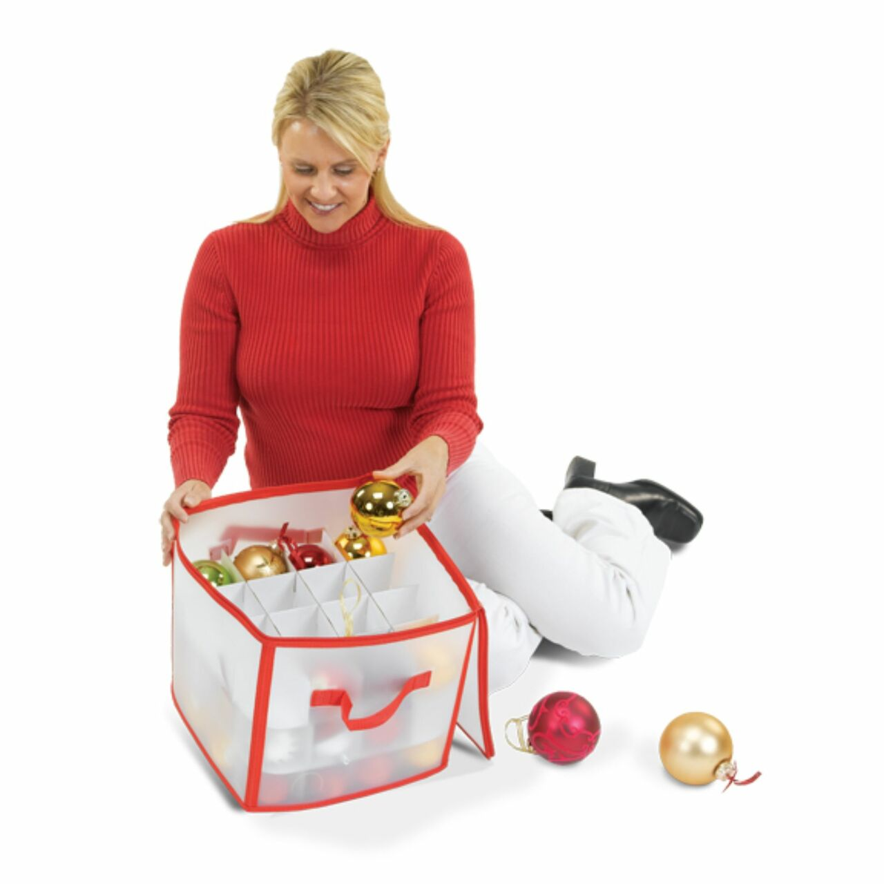 12 Red And Clear Zip Up Christmas Ornament Storage Bag Holds 64 Ornaments 31489702