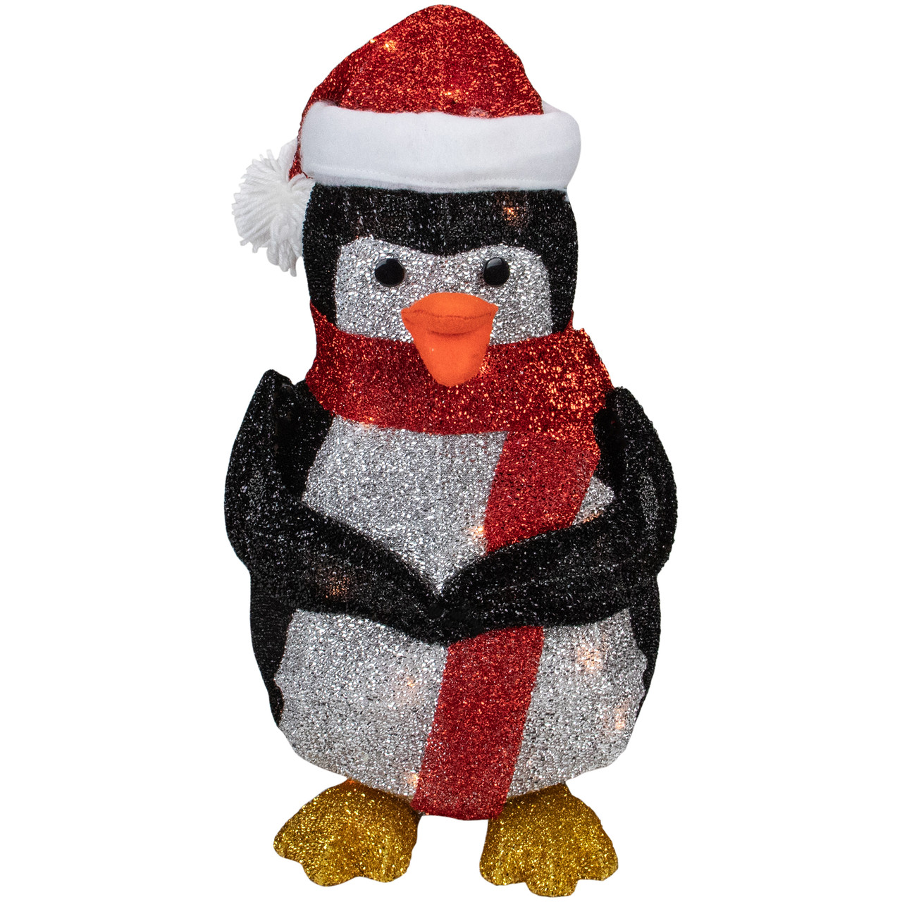 "19 5"" White and Red Lighted Penguin with Santa Hat Outdoor Christmas Decoration"