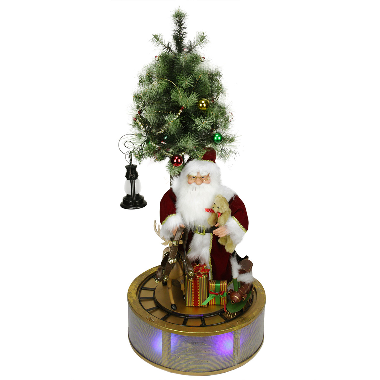 4 Animated Musical Lighted Led Santa Claus With Tree Rotating