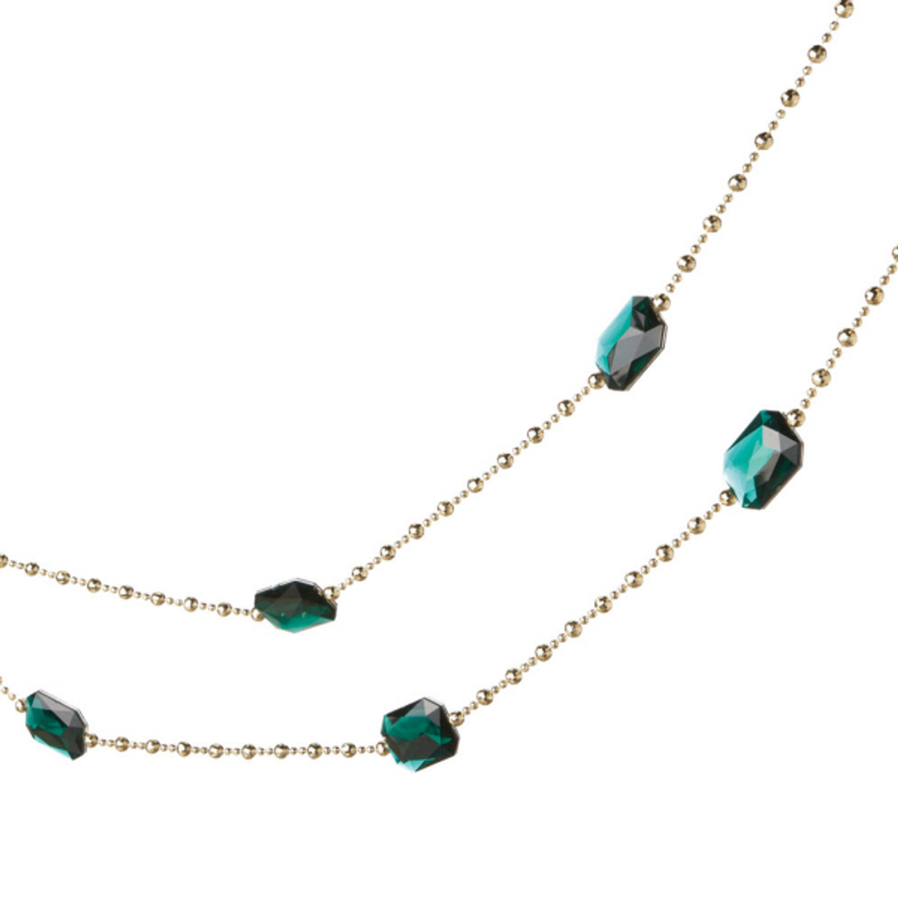 6' Teal Green & Silver Jewel Beaded Artificial Christmas