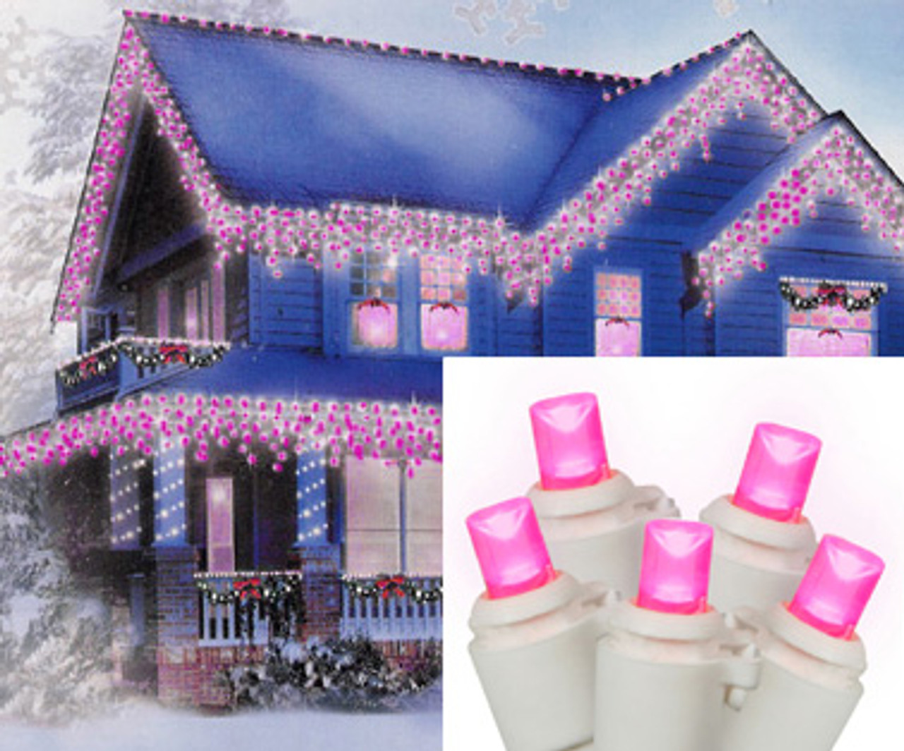Pink Lights White Wire   Set Of 70 Hot Pink Led Wide Angle Icicle Christmas Lights White