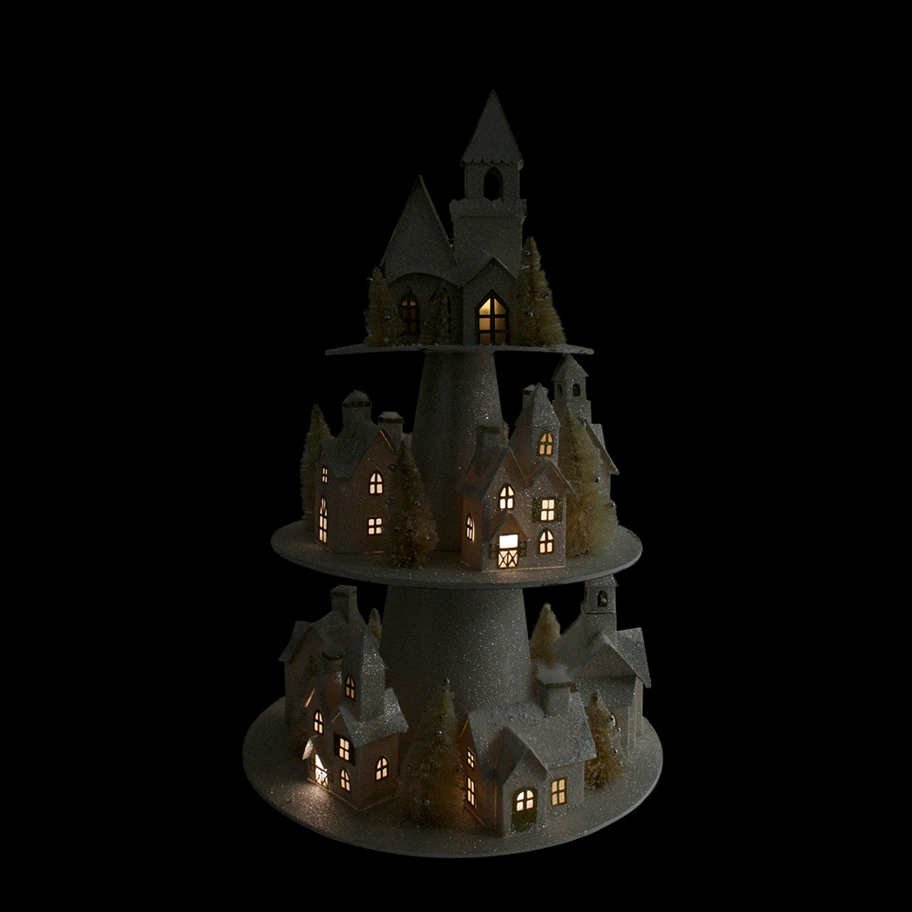 25 Lighted Champagne Gold 3 Tier Christmas House Display 31466667