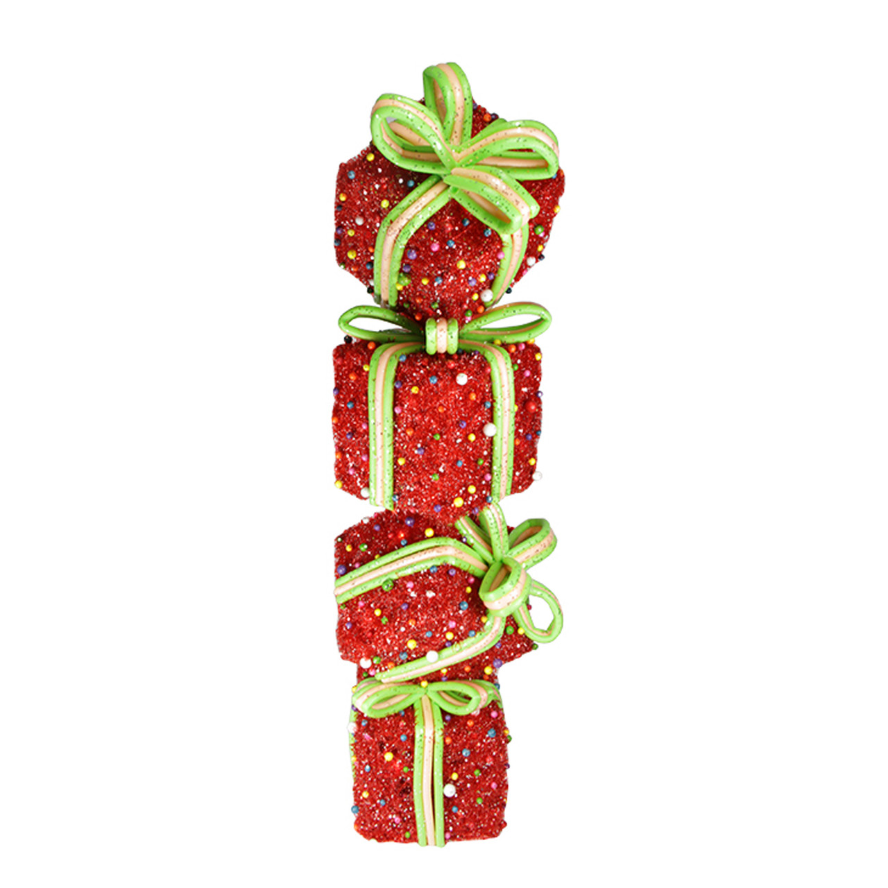 "34"" Red and Green Lighted Candy Stacked Gift Boxes Tower Outdoor Christmas Decoration"