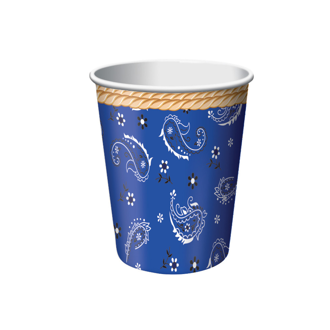 Club Pack Of 96 Blue Bandana Cowboy Disposable Paper Hot Cold Drinking Party Cups 9 Oz Christmas Central