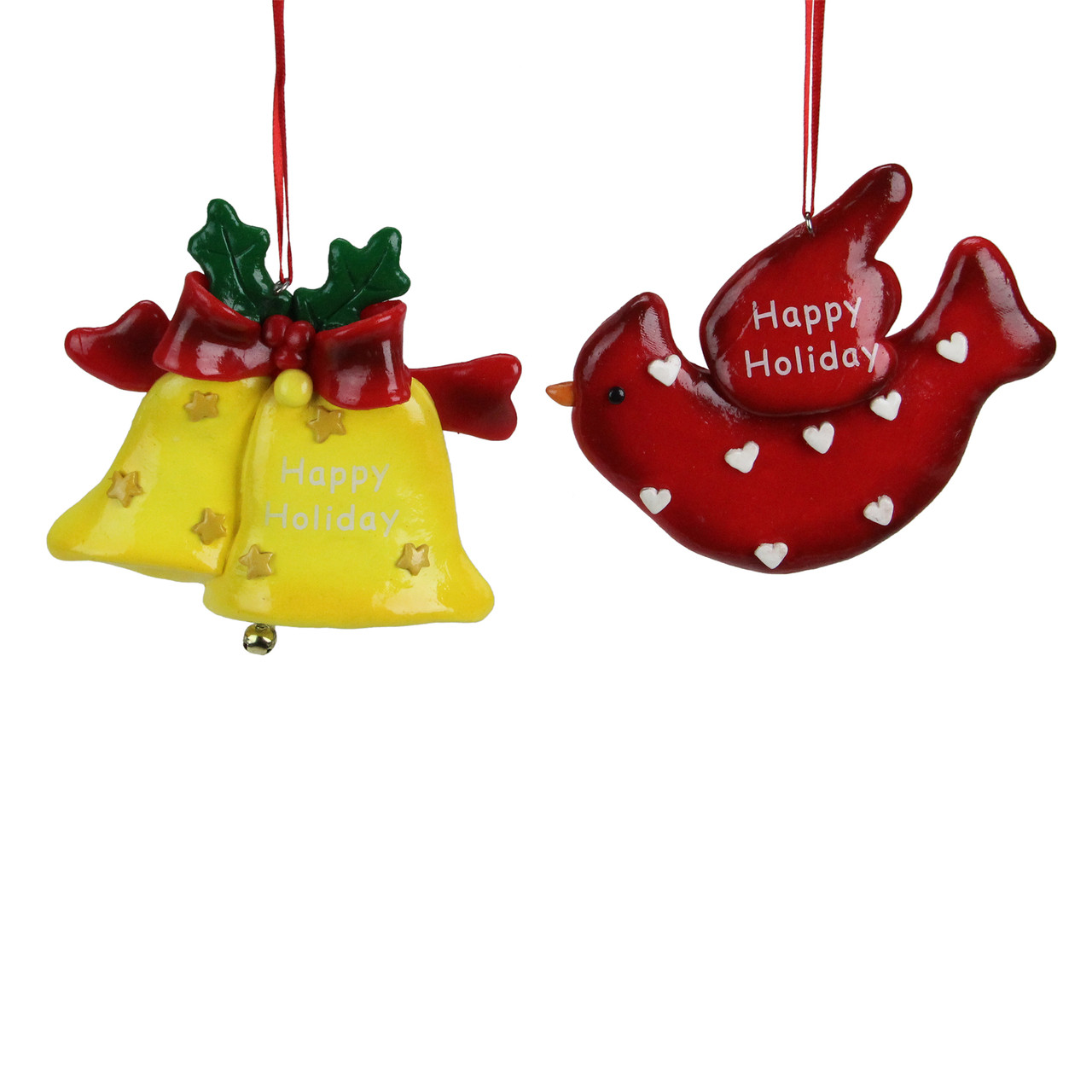 Roman Christmas Ornaments.Club Pack Of 24 Happy Holiday Bell And Cardinal Christmas Ornaments 4 25 6362283