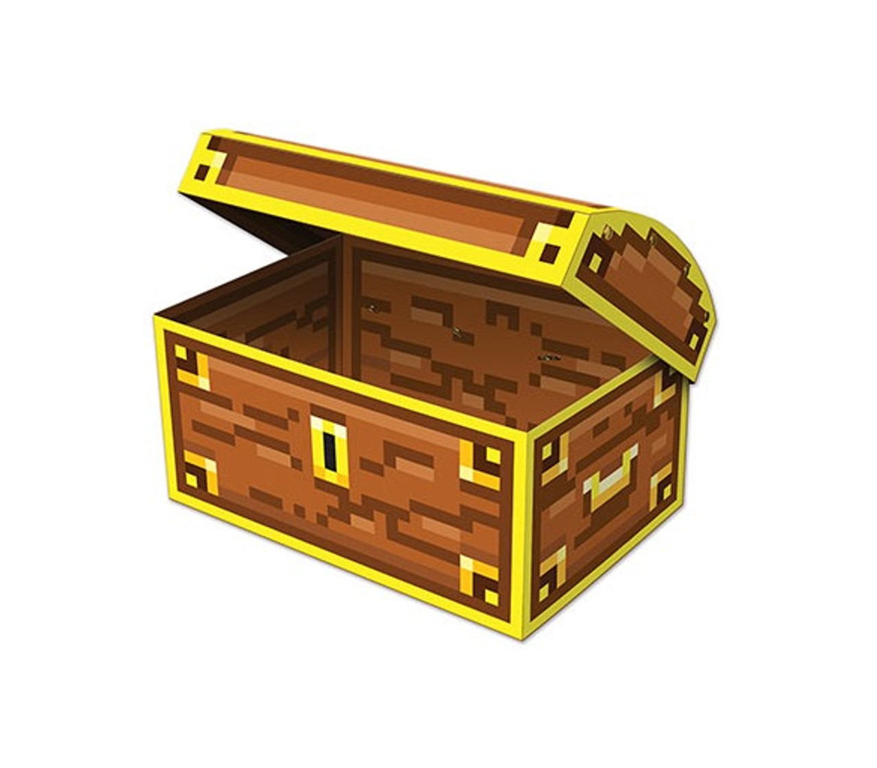 Pack Of 12 Yellow Brown 8 Bit Treasure Chest Novelty Party