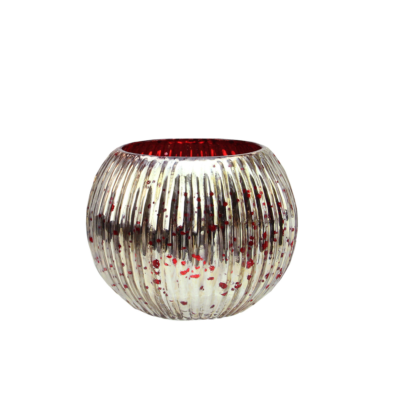 93b3482b8f Set of 4 Red and Silver Ribbed Round Mercury Glass Decorative Votive Candle  Holders 3.25