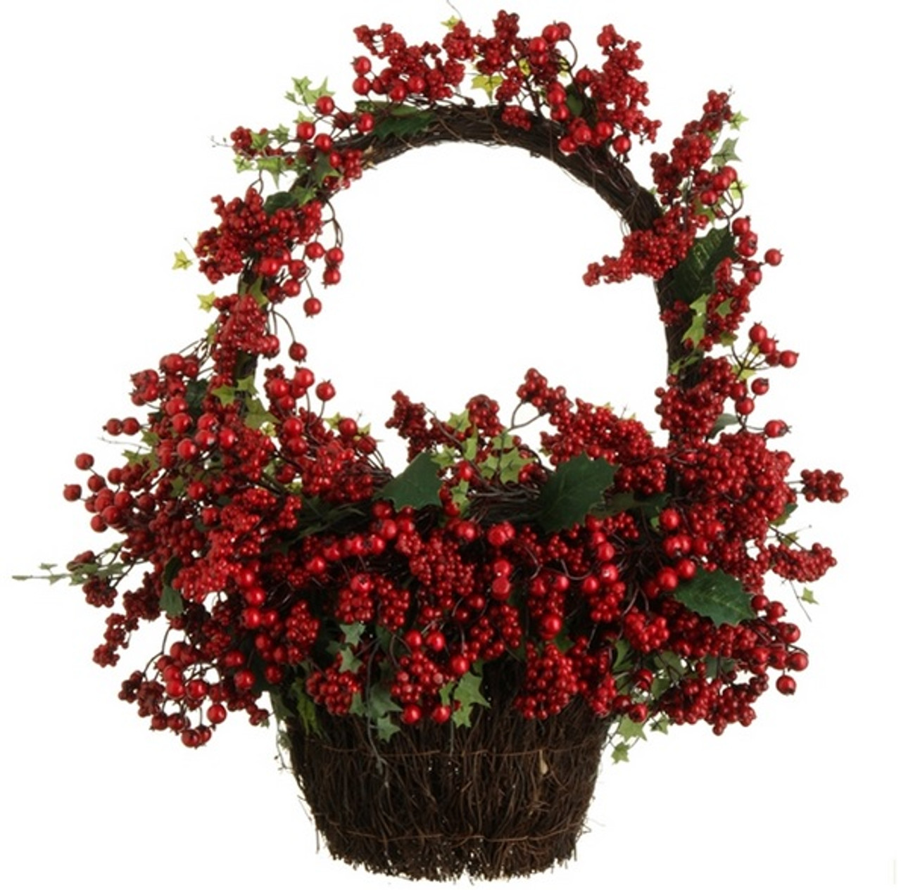 Christmas Vines.22 Country Rustic Red Rosehip Berries And Vines Decorative Christmas Wall Basket 31729766