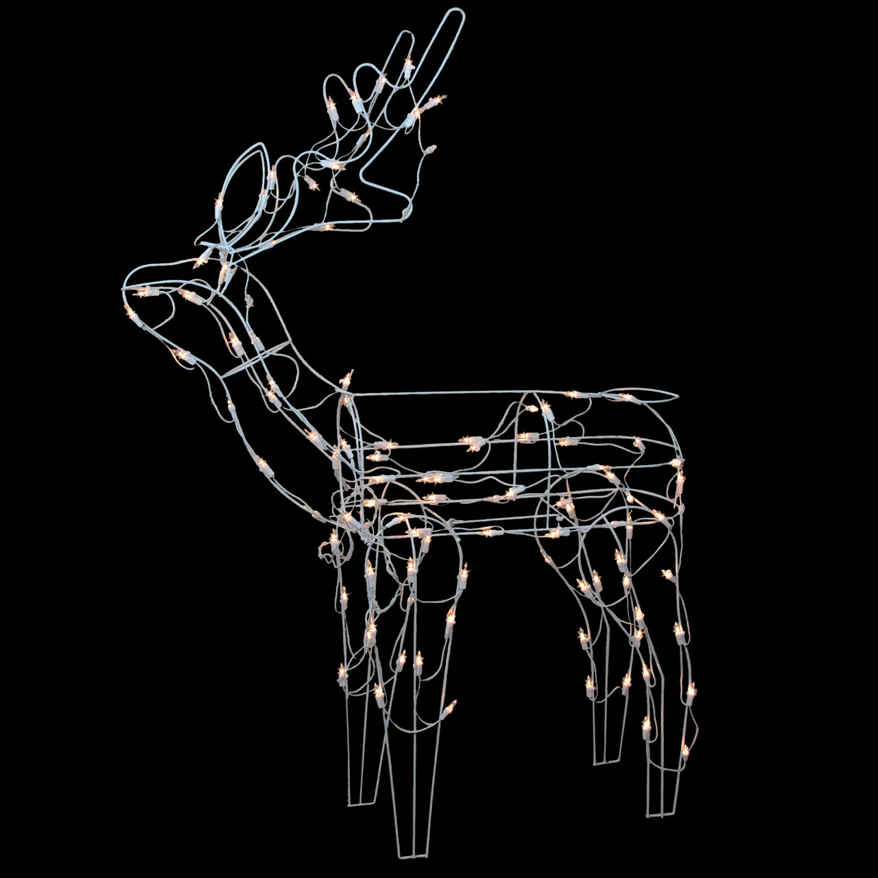 """43"""" Lighted White Standing Reindeer Christmas Outdoor Decoration"""