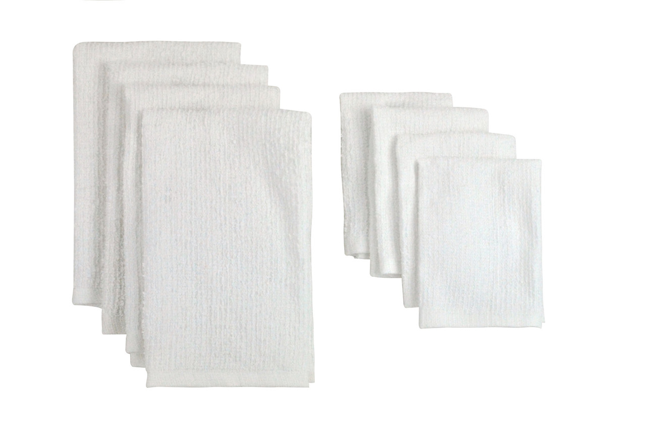 81cc7ad53406 Pack of 8 Solid White Dish Towel   Wash Cloth Kitchen Accessory Set ...