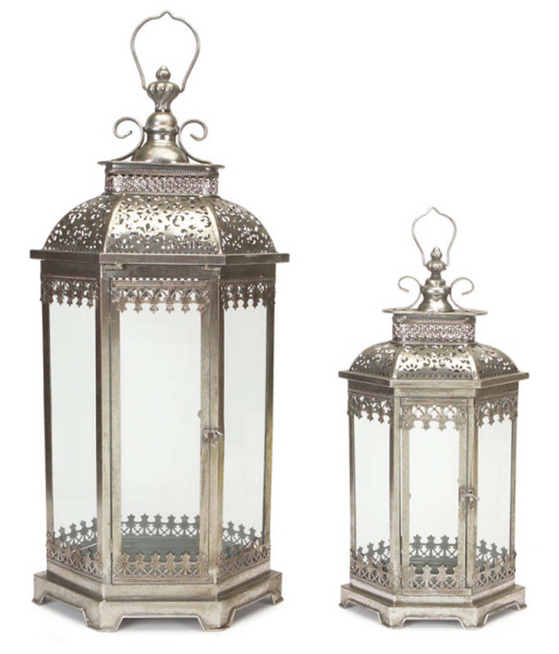 Set Of 2 Antique Style Silver Decorative Glass Pillar Candle Lanterns 34 Christmas Central