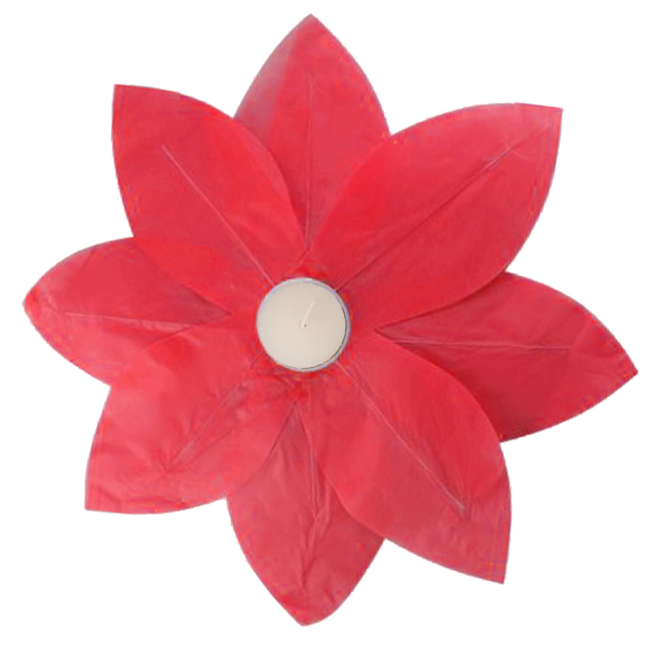 Pack Of 6 Red Floating Lotus Paper Flower Outdoor Patio Decor