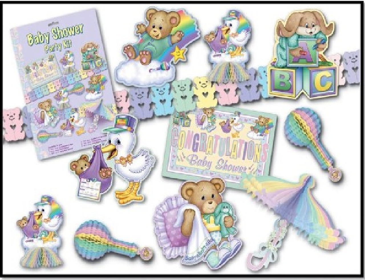 66 Piece Cuddle Time Gender Neutral Baby Shower Party Decorating