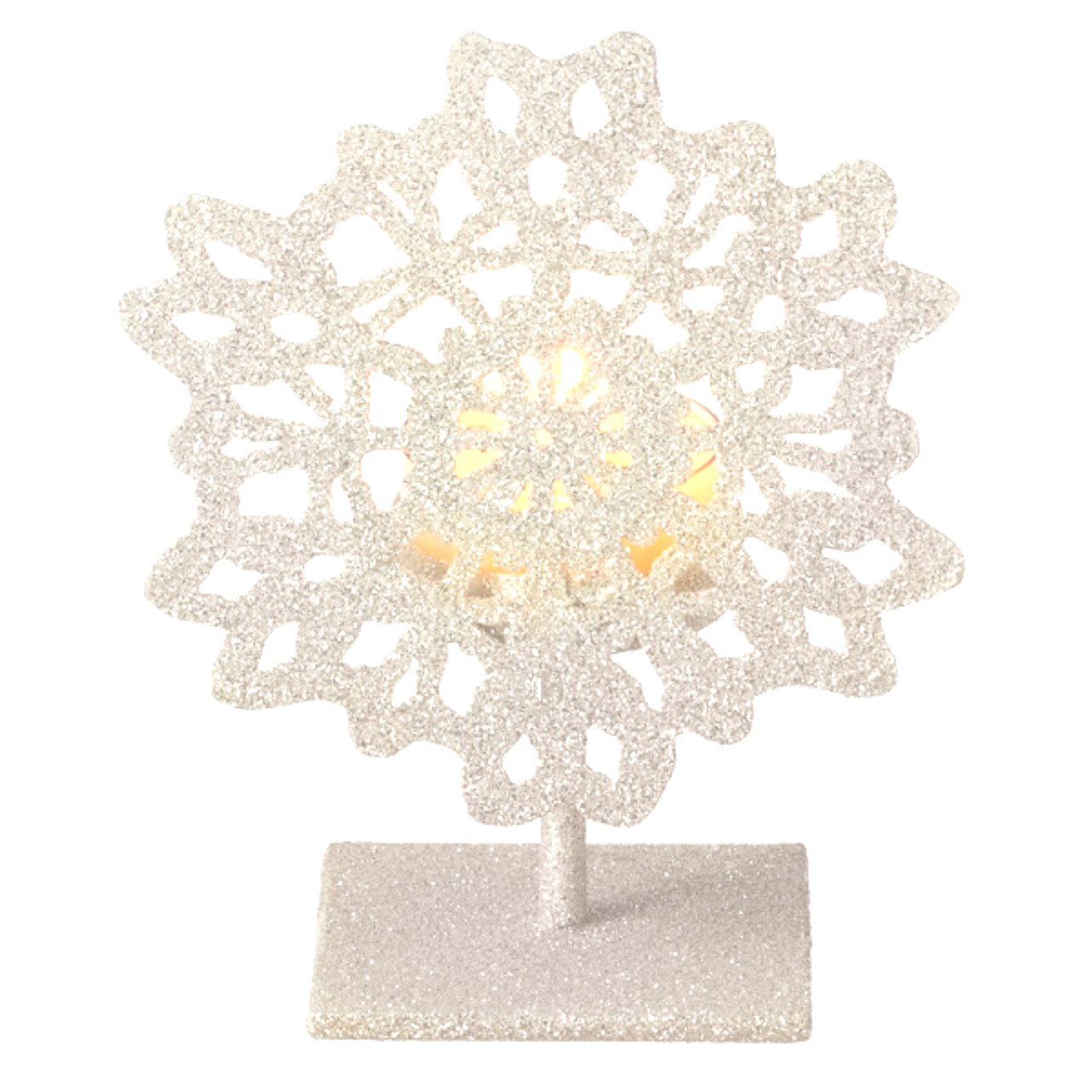 5 Silent Luxury Off White Glitter Drenched Snowflake Tea Light Candle Holder Christmas Central