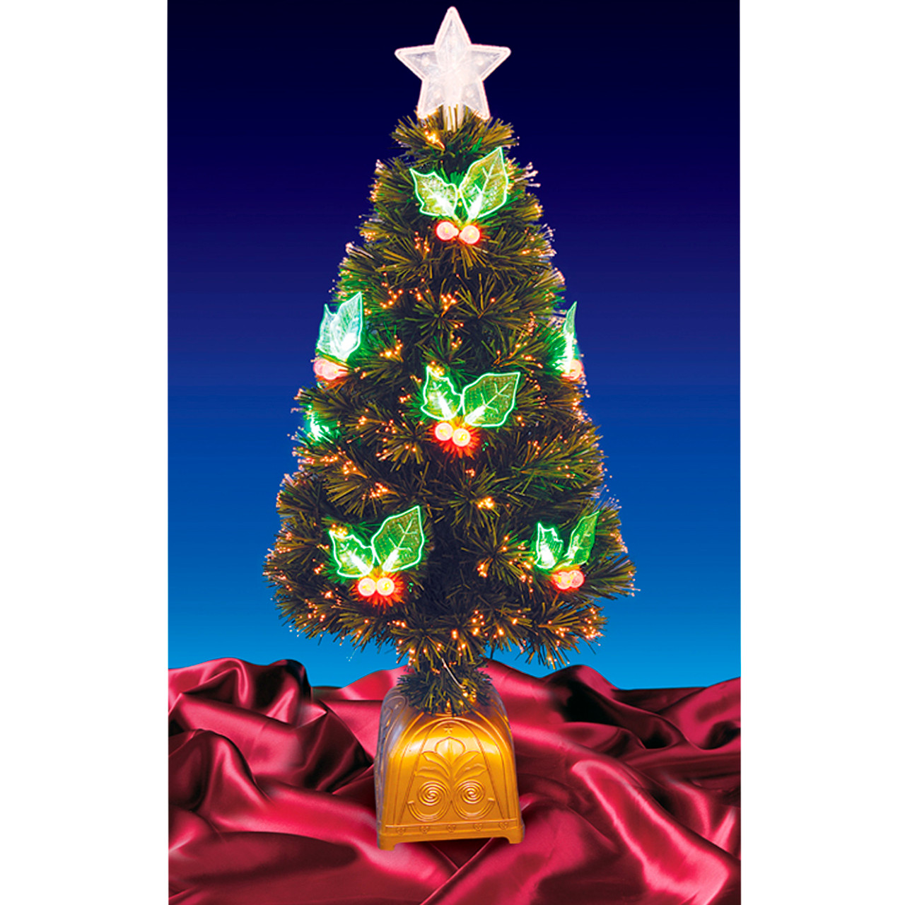 4 Pre Lit Led Color Changing Fiber Optic Christmas Tree With Holly Berries 16169193