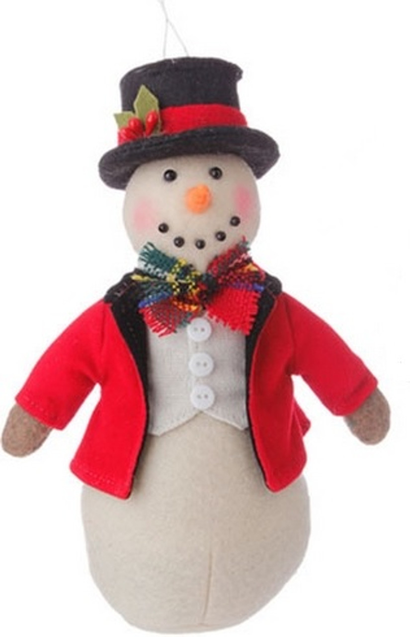 Christmas Top Hat.7 Holiday Snowman In Red Coat And Top Hat Christmas Ornament 31729515