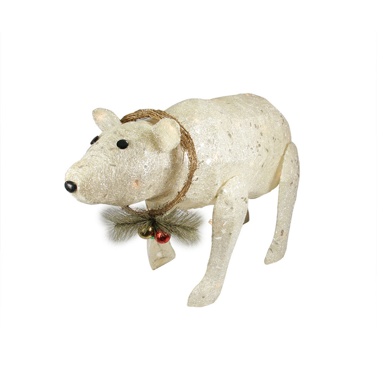 31 Lighted Sparkling Sisal Baby Polar Bear Christmas Outdoor