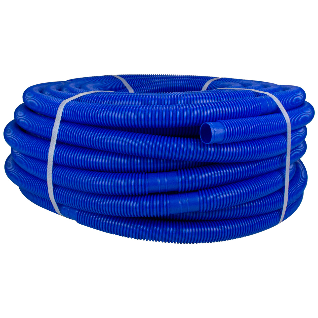 Blue Blow-Molded PE In-Ground Swimming Pool Cuttable Vacuum Hose 147.5\' x  1.25\