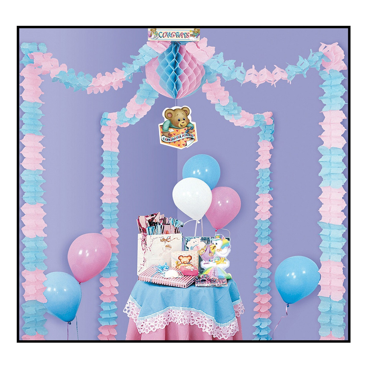 Pack Of 6 Pastel Pink Blue Party Canopy Baby Shower Decorating