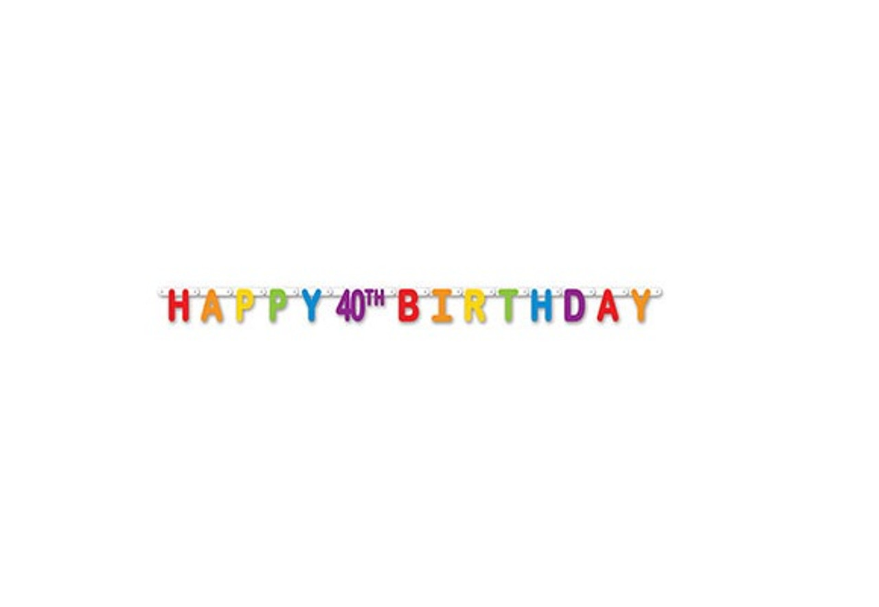 Pack Of 12 Colorful Jointed Happy 40th Birthday Banner Hanging Party Decorations 66