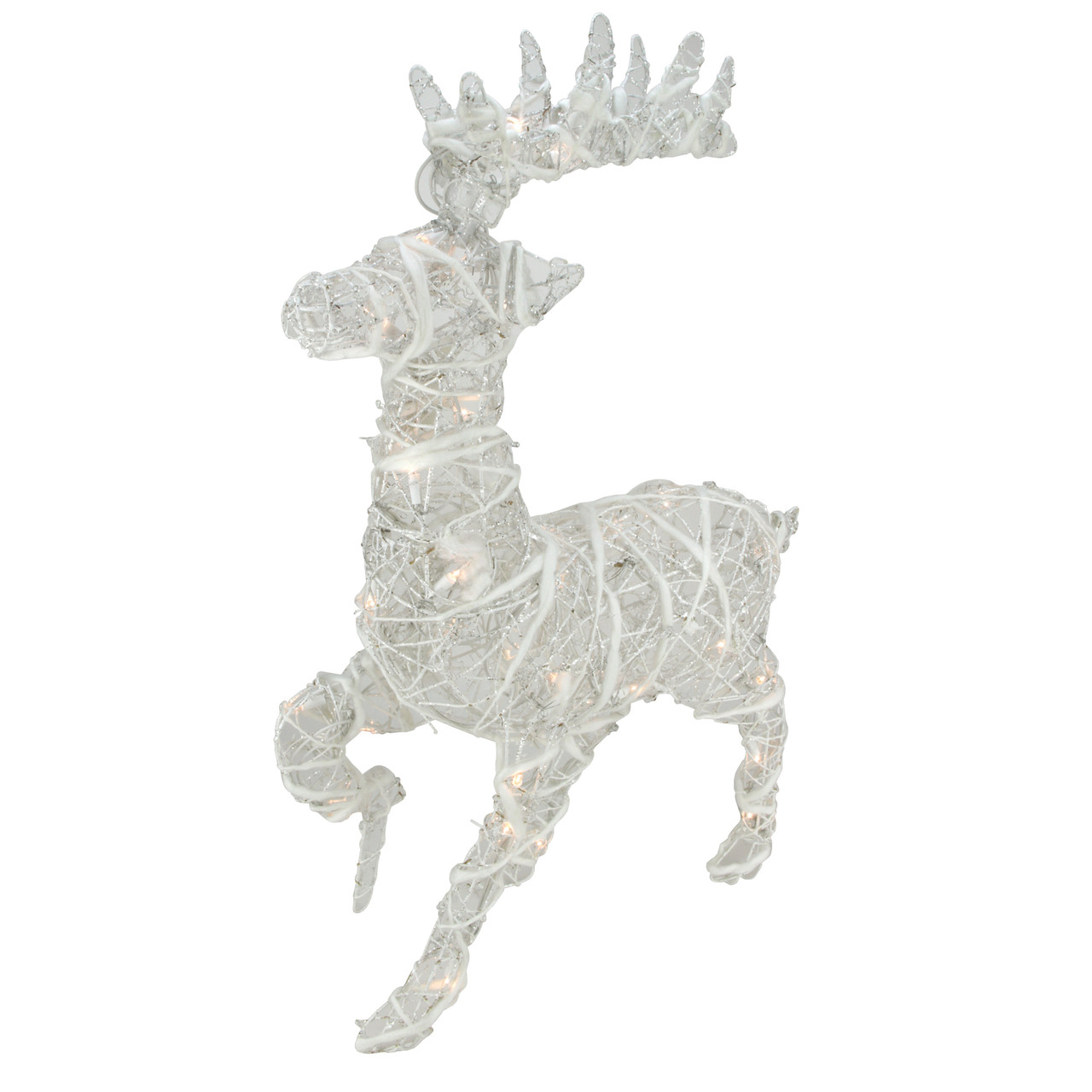 30 Lighted White Glittered Rattan Reindeer Outdoor Christmas Decoration 31457922