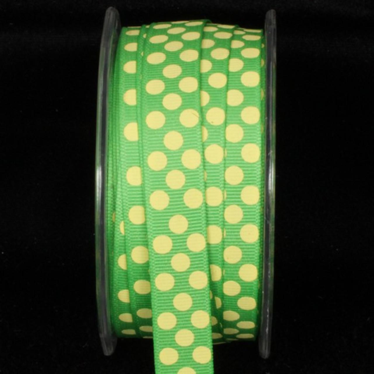 Green Yellow Polka Dot Pattern Grosgrain Craft Ribbon 5 8 X 108