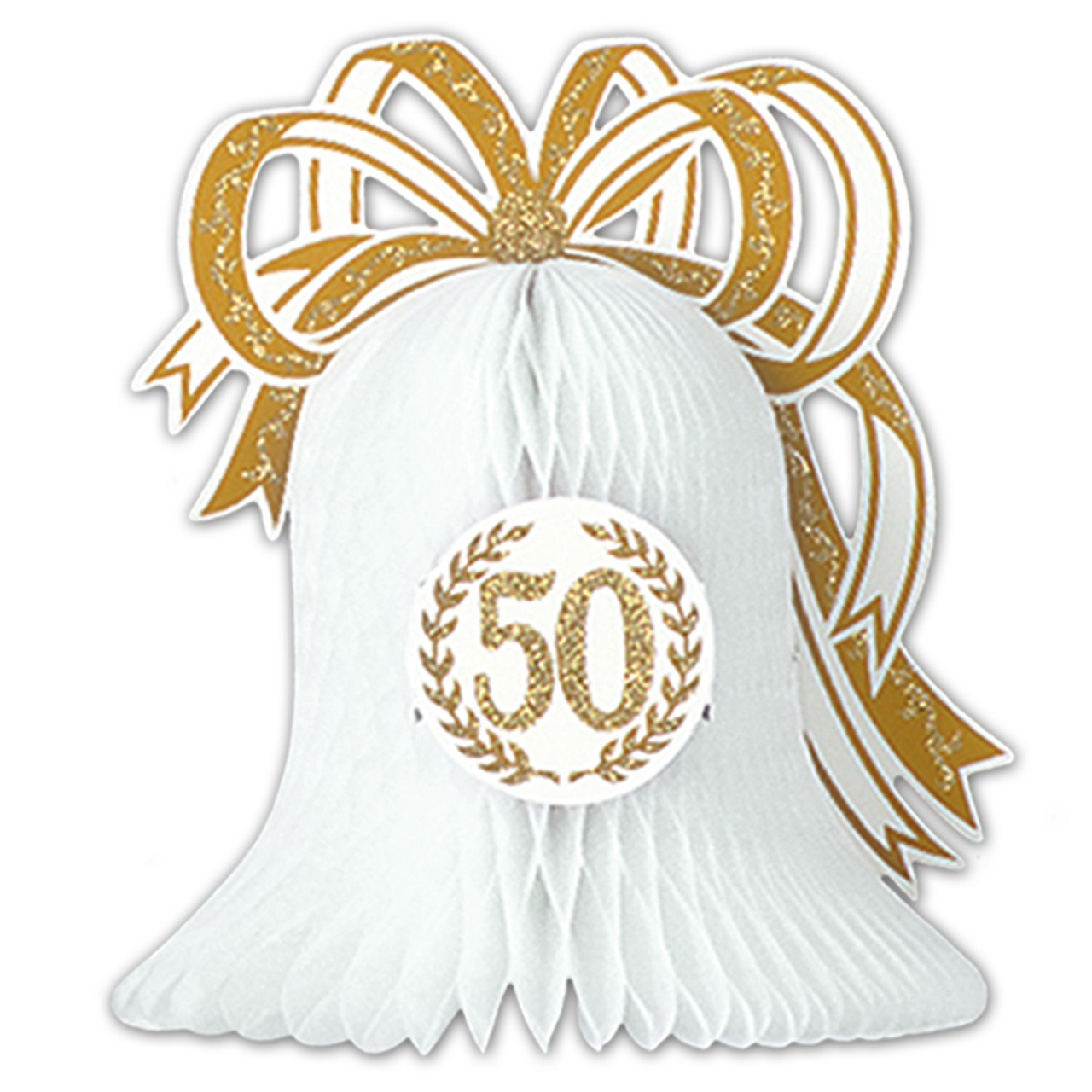 Club Pack Of 12 White Gold 50th Anniversary Honeycomb
