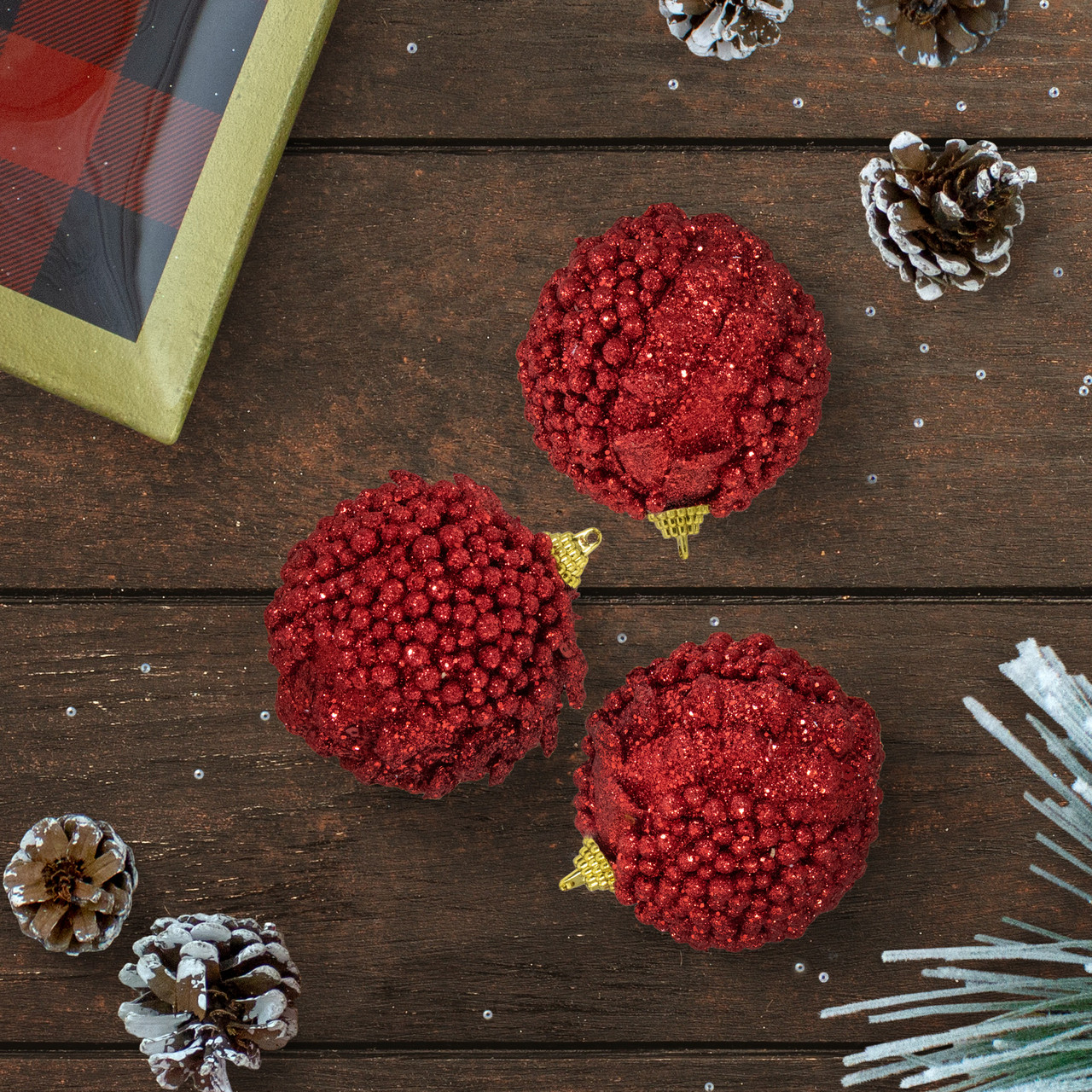 Red Christmas Ball Ornaments.Set Of 3 Red Holographic Glitter Cherry Drenched Christmas Ball Ornaments 3 75mm 32231067