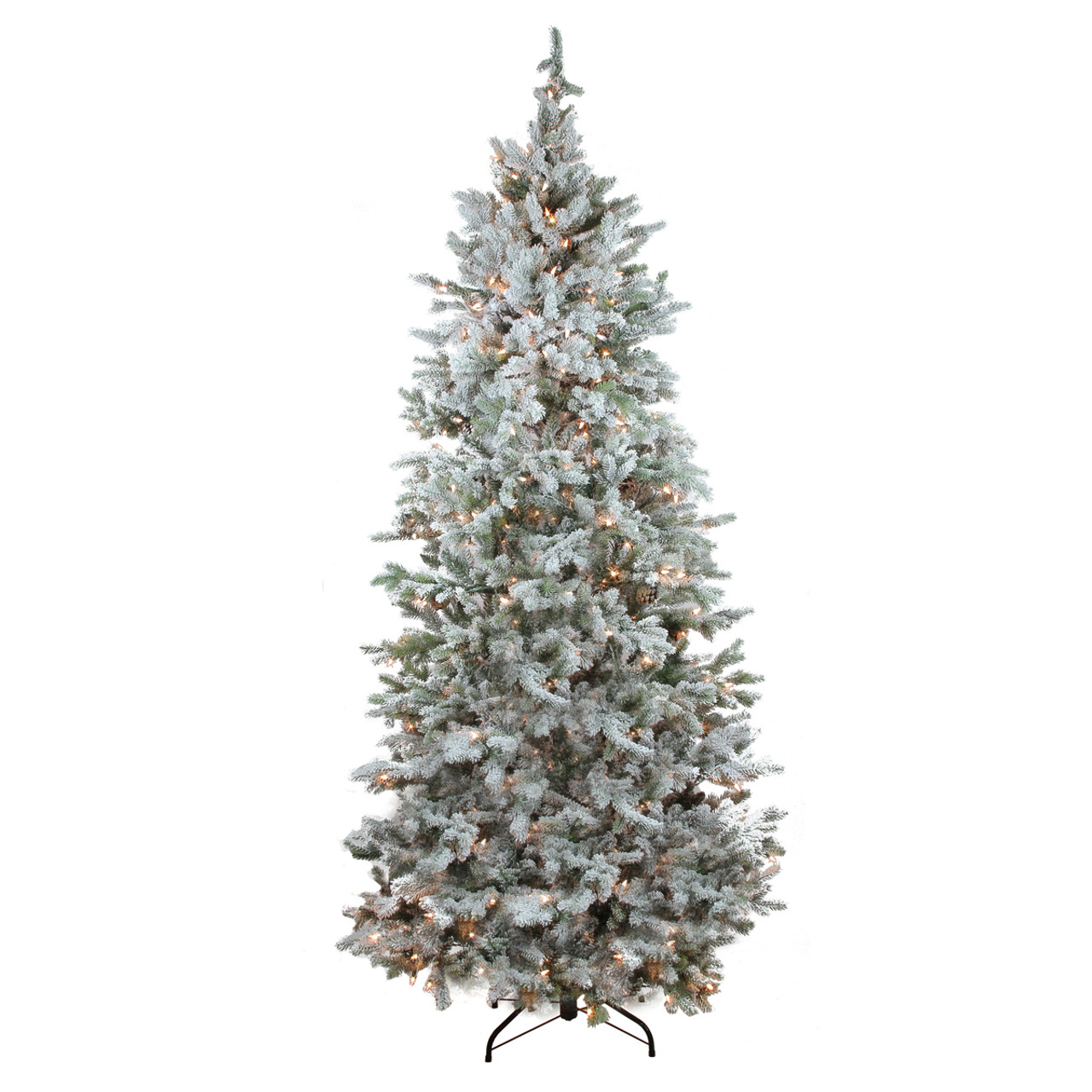 7 5 Pre Lit Flocked Slim Colorado Spruce Artificial Christmas Tree Clear Lights 31752276
