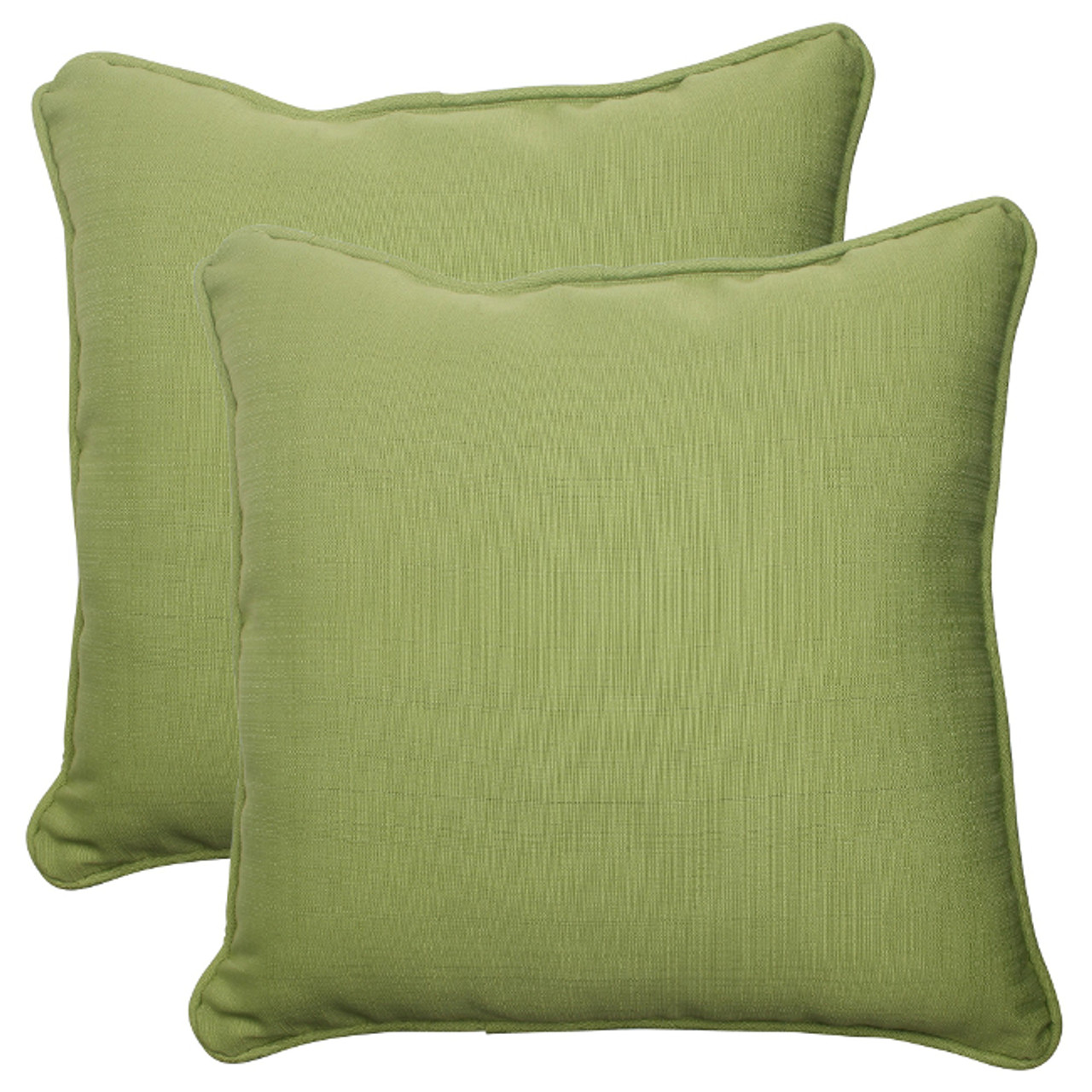 Set Of 2 Solid Olive Green Outdoor Patio Corded Square Throw Pillows 18 5 30951994