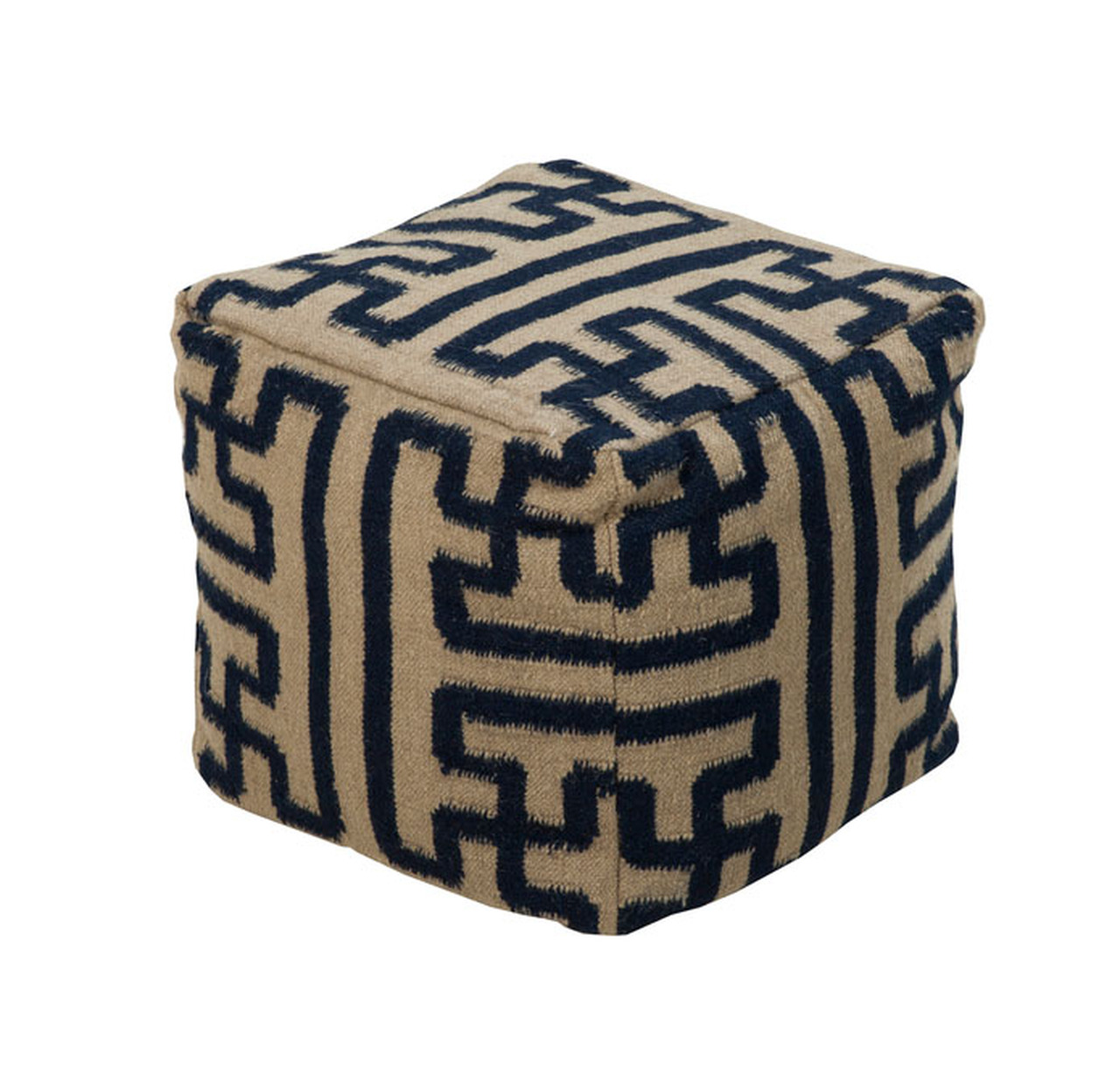 Astonishing 18 Navy Blue And Antique White Aztec Maze Wool Square Pouf Ottoman 28570524 Ibusinesslaw Wood Chair Design Ideas Ibusinesslaworg