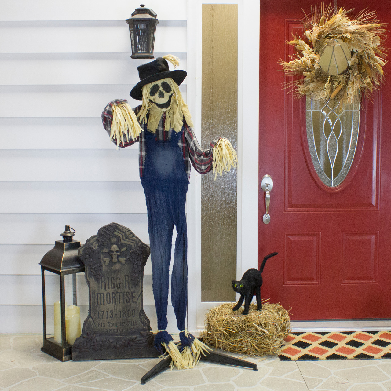 5 5 Battery Operated Lighted Led Animated Scarecrow Halloween